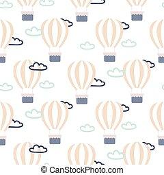 Hot air balloons seamless vector pattern.