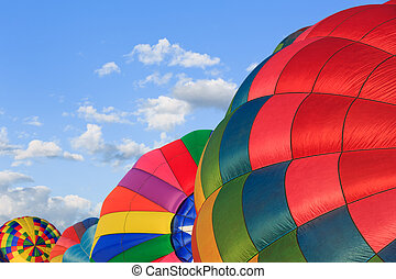 hot air balloons - colorful hot air balloons over blue sky