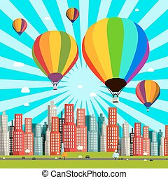 Hot Air Balloons Vector Flat Design Illustration with Abstract City