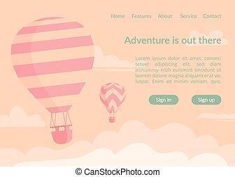 Hot air balloons website landing page vector