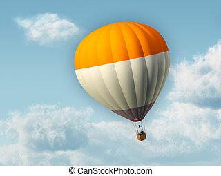 Businessman flying in an hot air baloon. Digital illustration.