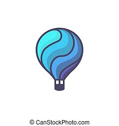 Hot air baloon logo. Cartoon illustration of hot air baloon vector icon for web design or logo template