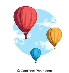Hot Air Baloons - Illustration of hot air baloons in the...