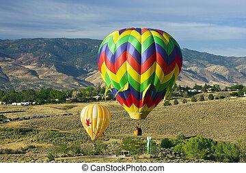 hot air baloons before touchdown