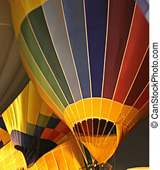 Hot air baloons look like crayon colored