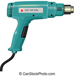 Illustration of a hot air gun on isolated white background.