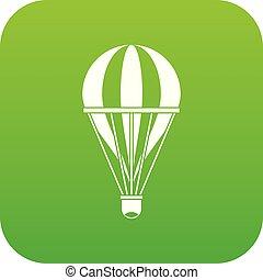 Hot air striped balloon icon digital green