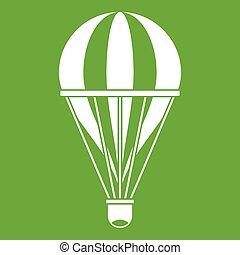 Hot air striped balloon icon green