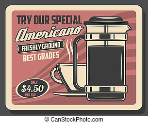 Hot americano, drink in steaming cup, coffee pot