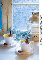 Hot and aromatic tea with cinnamon for Christmas