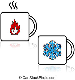 Hot and cold beverages - Cartoon illustration showing a ...