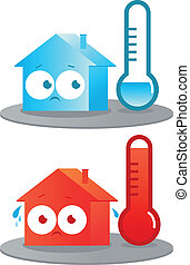 Hot and cold house. Vector Illustration - A very hot and...