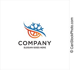 Hot and cold Logo symbol. Sun and snowflake all season concept logo. Hot and cold logo design for refrigeration company