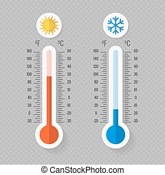 Hot and cold meteorology thermometers on transparent background