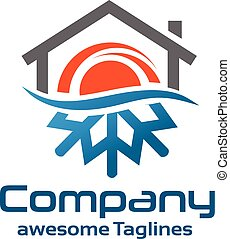 hot and cold roofing - Hot And Cold Symbol with roofing logo