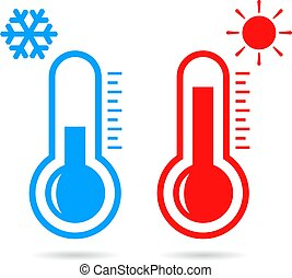 Hot and cold temperature vector icon