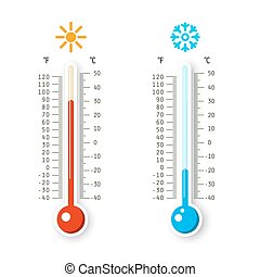 Hot and Cold Weather Icons. Vector Thermometers Isolated on White Background.