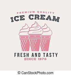 Hot and fresh donuts retro badge design. Vintage design for cafe, restaurant, pub or fast food business. Template with ice cream for restaurant identity objects, packaging and menu