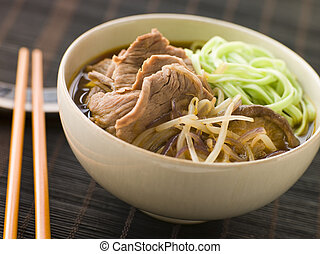 Hot and Sour Beef Broth With Spinach Ramen Noodles
