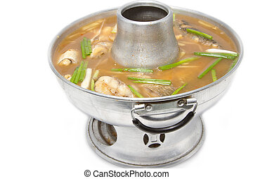 hot and sour, fish and vegetable in hot pot. , (gaeng-som) Delicious food in thailand