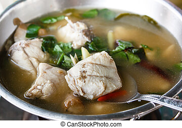 Hot and sour grouper soup.