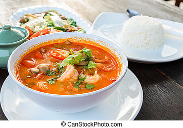 Hot and sour soup and shrimp in condensed water, Thai traditional food (Tom Yum Goong)