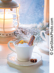 Hot and sweet tea with cinnamon for Christmas