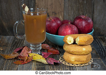 hot apple cider and donut