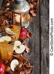 Hot apple cider background