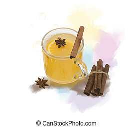 Digital Painting of Hot Apple Cider With Spices