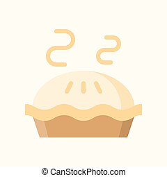 Hot apple pie, simple icon in flat style, bakery and pastry...