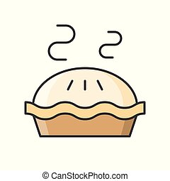 hot apple pie, sweets and pastry set, filled outline icon.