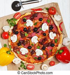 Hot baked italian pizza