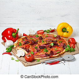 Hot baked pizza