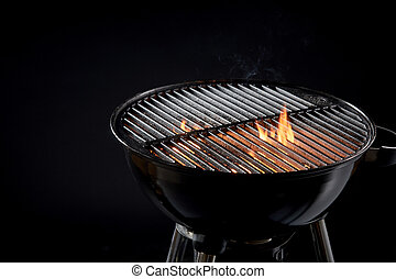 Hot barbecue fire with glowing coals ready to cook