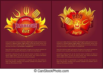 Hot Barbeque Party Vector Posters Burning Badges