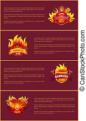 Hot Barbeque Party Vector Posters Set Burn Badges