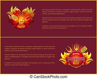 Hot Barbeque Vector Icons with Burning Badges