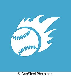 Hot baseball icon, simple