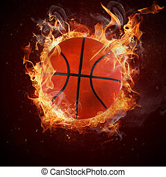 Hot basketball in fires flame