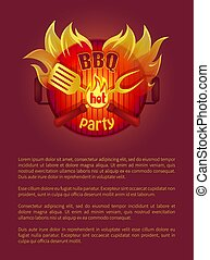 Hot Bbq Grill Party Leaflet Fork, Paddle, Spatula