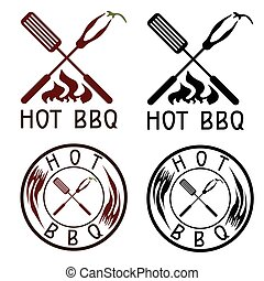 Hot BBQ grill vector labels collection