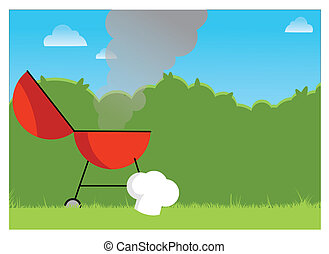 Hot BBQ illustration of a red BBG smoking away on a summers...