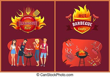 Hot BBQ Party with Friends Logos in Flame Set