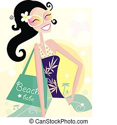 Beautiful diva with shopping bag on the beach. Vector Illustration.