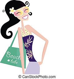 Hot beach chic - Sexy beach babe with shopping bag. Vector...