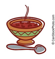 Hot bean soup in clay bowl with ornament - Hot bean soup in...