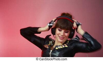 Hot beautiful girl like a dj.