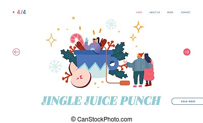 Hot Beverage for Cold Season Website Landing Page. Woman Character Standing on Huge Cup with Hot Punch or Mulled Wine. Festive Winter Drink Time Web Page Banner. Cartoon Flat Vector Illustration