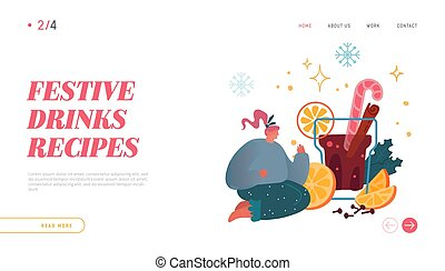 Hot Beverage for Cold Season Website Landing Page. Woman Character with Big Cup of Hot Punch or Mulled Wine. Festive Winter Drink Time Web Page Banner. Cartoon Flat Vector Illustration